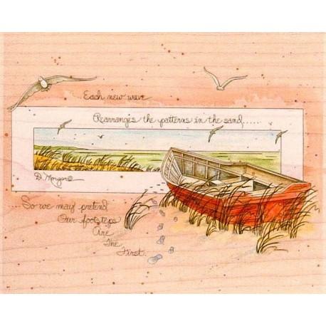 """Штамп резиновый """"Картина с лодкой"""" 90014"""