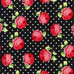 """Ткань """"Розы и точки"""" Michael Miller Fabrics CX6852-BLAC-D"""