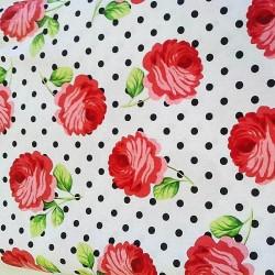 """Ткань """"Розы и точки"""" Michael Miller Fabrics CX5939-EBON"""