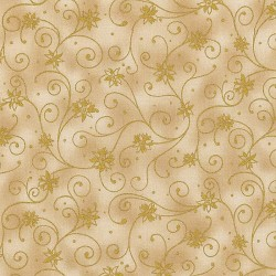 "Ткань ""Cream with GOLD swirls Poinsettia"" RJR 0782-01"